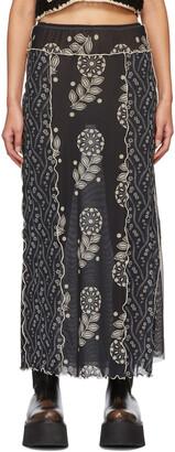 Anna Sui Black Mesh Posies & Pop Flowers Skirt