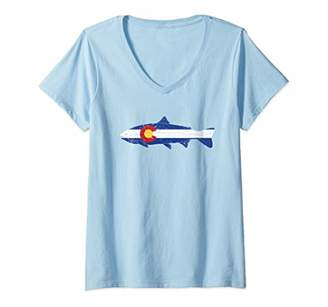 Womens State of Colorado Flag Fish Vintage Trout Fishing Graphic V-Neck T-Shirt