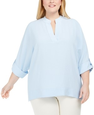 Calvin Klein Plus Size Split-Neck Tunic