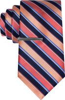 Jf J.Ferrar JF Navy Ground Stripe Tie With Tie Bar