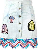 Peter Pilotto denim guipare lace patch skirt
