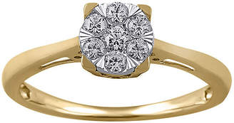 FINE JEWELRY Womens 1/4 CT. T.W. Genuine White Diamond 10K Gold Solitaire Engagement Ring