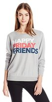 Chaser Women's Happy Friday Friends Crew Neck Long Sleeve Panel Tee