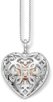 Thomas Sabo Women's Locket Heart Silver Gold Plated Rose Gold Necklace with Pendant of Length 38-42cm SCKE150078
