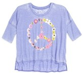 Chaser 'Peace Blossom' Graphic High/Low Tee (Big Girls)