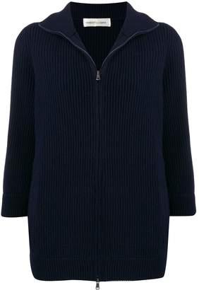 Lamberto Losani zip-front ribbed knit cashmere cardigan