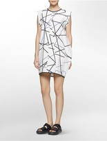 Calvin Klein Platinum Sculptural Linear Print Dress