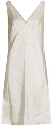 Marc Jacobs Pressed V-Neck Metallic Slip Dress