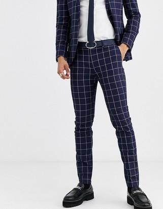 Topman skinny suit pants in navy check