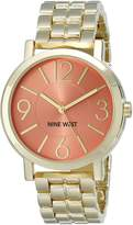 Nine West Women's NW/1694COGB Gold-Tone Bracelet Watch with Coral-Color Dial