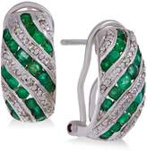 Macy's Precious Gemstone (1 ct. t.w.) and Diamond Accent Omega Earrings in Sterling Silver (in Emerald or Ruby)