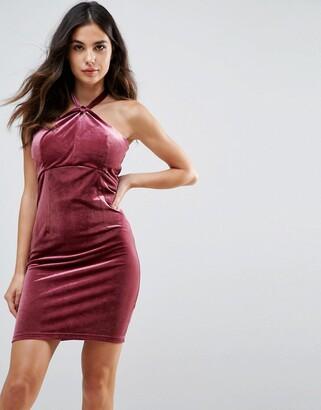 Isa Belle Wyldr Isabelle Velvet Mini Dress With Twist Front Detail-Pink