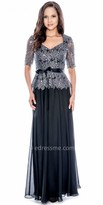 Decode 1.8 Short Sleeve Embellished Lace Ribbon Evening Gown
