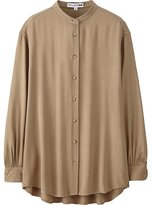 Uniqlo Women Idlf Rayon Oversized Stand Collar Long Sleeve Shirt