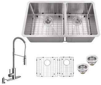 Soleil Radius 16 Gauge Stainless Steel 32'' x 19'' 60/40 Double Bowl Undermount Kitchen Sink with Pull Out Faucet and Soap Dispenser Soleil Faucet Finish: Po
