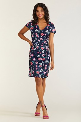 Yumi Bird And Floral Wrap Ruched Dress