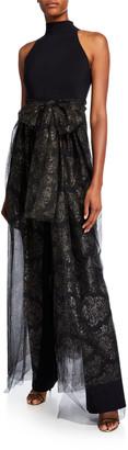 Chiara Boni Halter Jumpsuit with Metallic Tulle Overlay