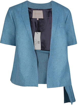 Roksanda Ilincic Powder Blue Felted Wool Asymmetric Delmore Jacket M