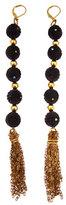 Carved Black Bead Tassel Earrings