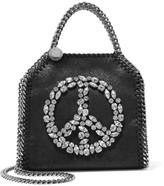 Stella McCartney The Falabella Tiny Embellished Faux Brushed-leather Shoulder Bag - Black