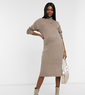 Topshop Maternity knitted midi dress with high neck in tan