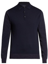 Lanvin Contrast-panel Long-sleeved Wool Polo Shirt