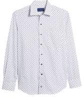David Donahue Regular Fit Dot Print Sport Shirt