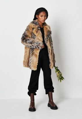 Missguided Premium Beige Tipped Chevron Faux Fur Coat