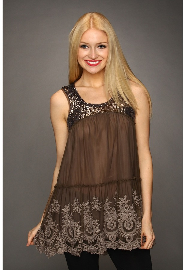 Free People Shimmer Sequin Mesh Tunic (Dark Taupe) - Apparel