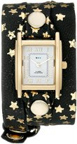 La Mer Women's LMSTWEX1201 Gold-Tone Watch with Foil-Printed Wraparound Leather Strap