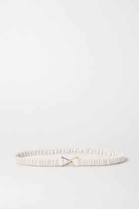 Bottega Veneta Ruched Leather Belt - White