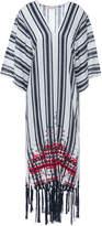 Tory Burch Awning Fringe-trimmed Embroidered Striped Linen-gauze Kaftan