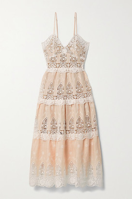 Miguelina Lotte Crochet-trimmed Linen Midi Dress - Peach