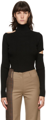 ANDERSSON BELL Black Knit Slit Jessica Turtleneck