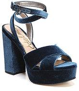 Sam Edelman Mara Platform Ankle Wrap Velvet Dress Sandals