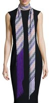 Missoni Asymmetric Zigzag Illusion Fringe Scarf, Purple/Multicolor