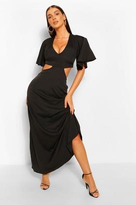 boohoo Lace Up Back Maxi Dress