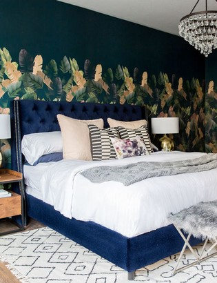 Lulu & Georgia Admina Velvet Tufted Bed, Navy