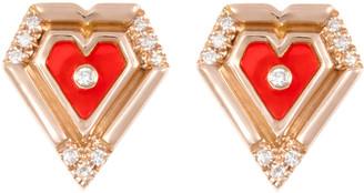 L'Atelier Nawbar Mini Heart 18K Rose Gold Agate Diamond Earrings