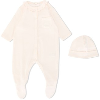 Chloé Kids Ruffled Neck Pyjama And Hat Set