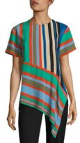 Diane von Furstenberg Striped Asymmetrical Silk Top