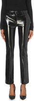 Versace Faux-leather slim mid-rise cotton-blend trousers