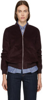 A.P.C. Burgundy Corduroy Norma Bomber Jacket