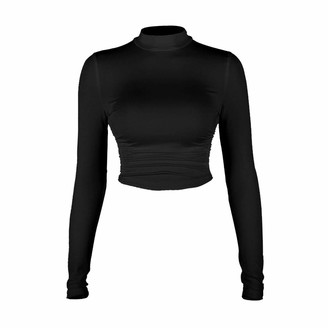 Qiran Ladies Tops Fashion Women Casual Solid O-Neck Long Sleeve Backless Ruched Tops Tee Charming Comfortable Attractive Soft Blouse Fashion Sexy Design Shirts Black