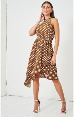 Love Frontrow Polka Dot Halterneck Midi Dress | Brown