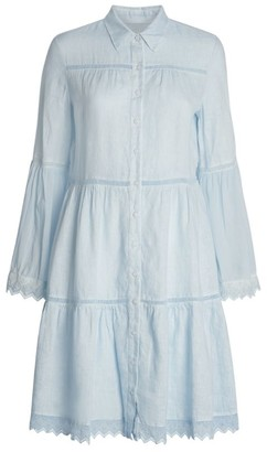 120% Lino Lace Trim Shirt Dress