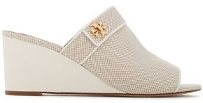 Tory Burch Patent-paneled Logo-embellished Cotton-blend Canvas Wedge Mules
