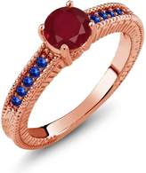 Gem Stone King 1.25 Ct Round Red Ruby Blue Sapphire 925 Rose Gold Plated Silver Engagement Ring