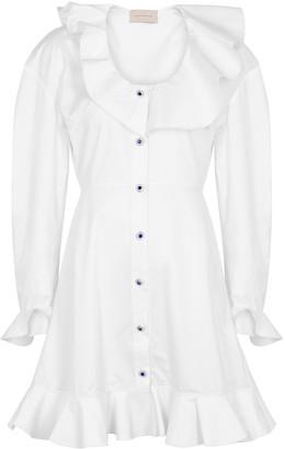 Christopher Kane White Ruffle-trimmed Shirt Dress