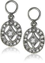 "KC Designs Charmed Life"" Diamond 14k White Gold Oval Shape Ear Charm, Black Finish"